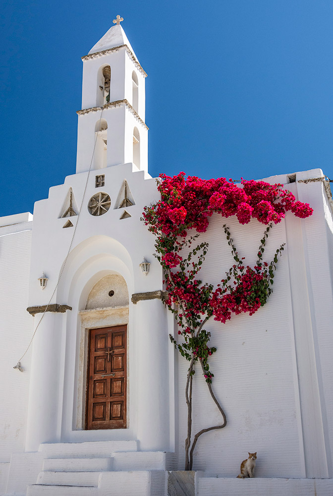 church and bougainvillea in Greece