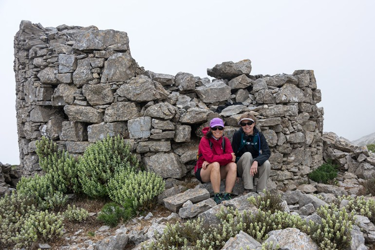 Hikers on Krikelos, Amorgos in Greece