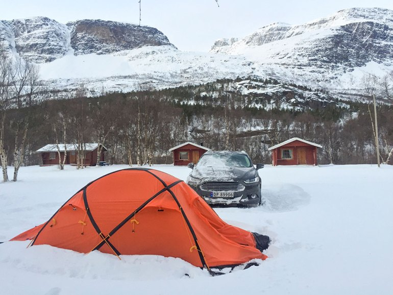 tent camping snow norway