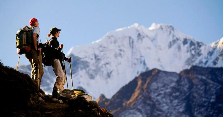 couple trekking in nepal