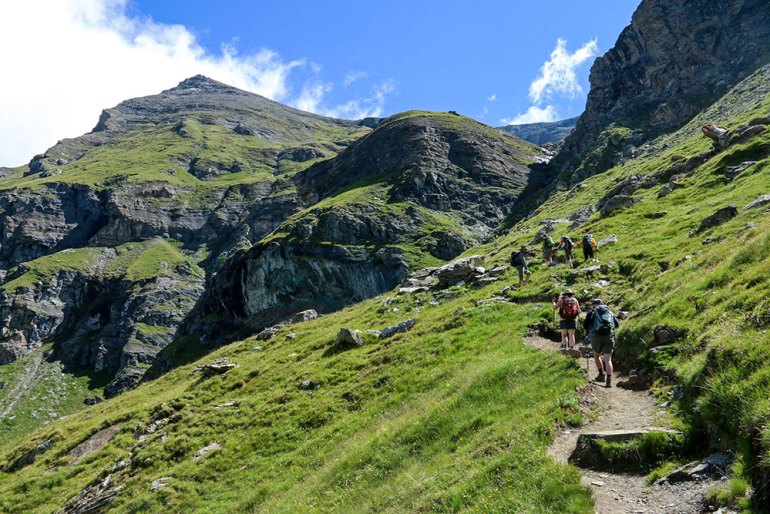 Ascending Towards the Pinter Pass Italy