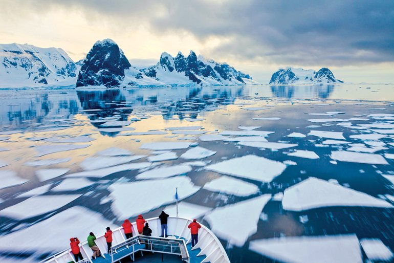 people on a ship in antarctica