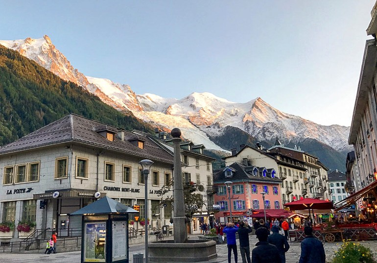 chamonix france with mont blanc in the background