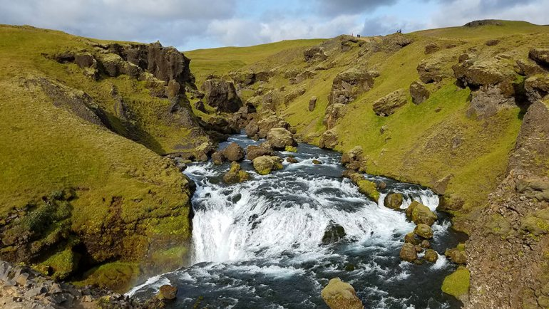 River above Skogafoss waterfall