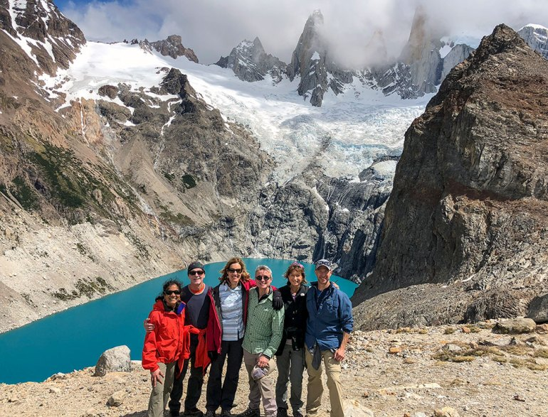 group photo near glacier lake in patagonia
