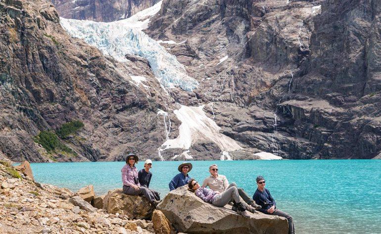 grou p photo at alfredo glacier in patagonia