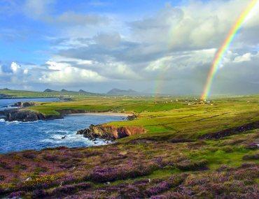 rainbow on coast