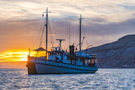 boat at sunset in baja