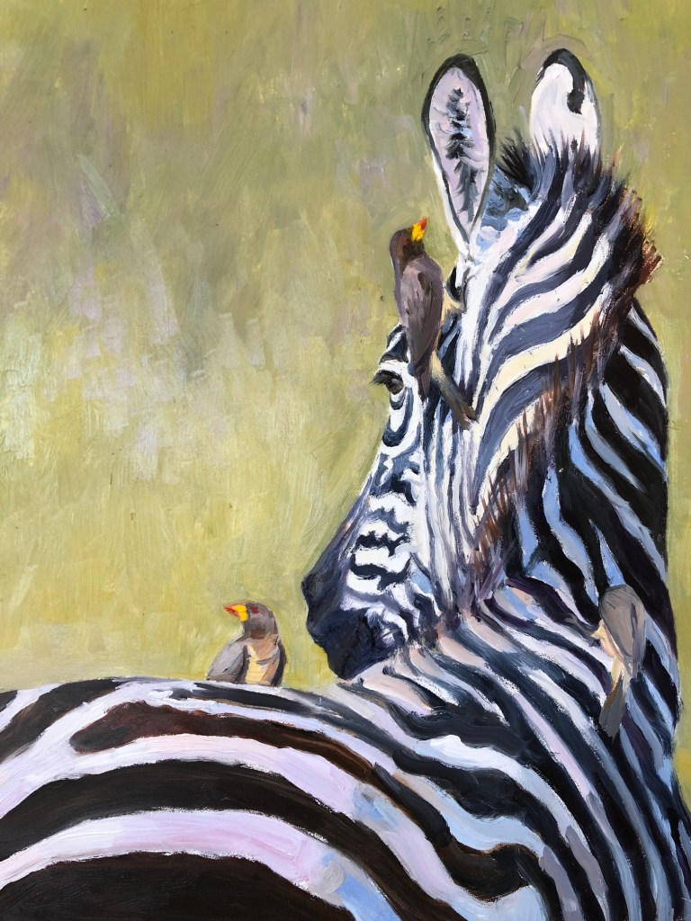 Oil painting of zebra with birds