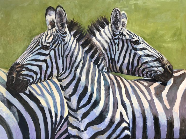 Oil painting of zebra scratching