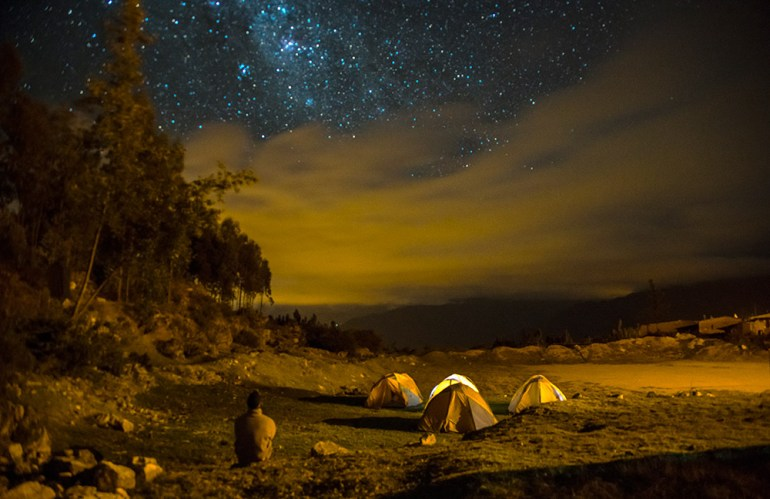 camping tents with stars overhead in the Cordillera Blanca