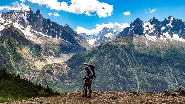 hiker in the french alps near Mont Blanc