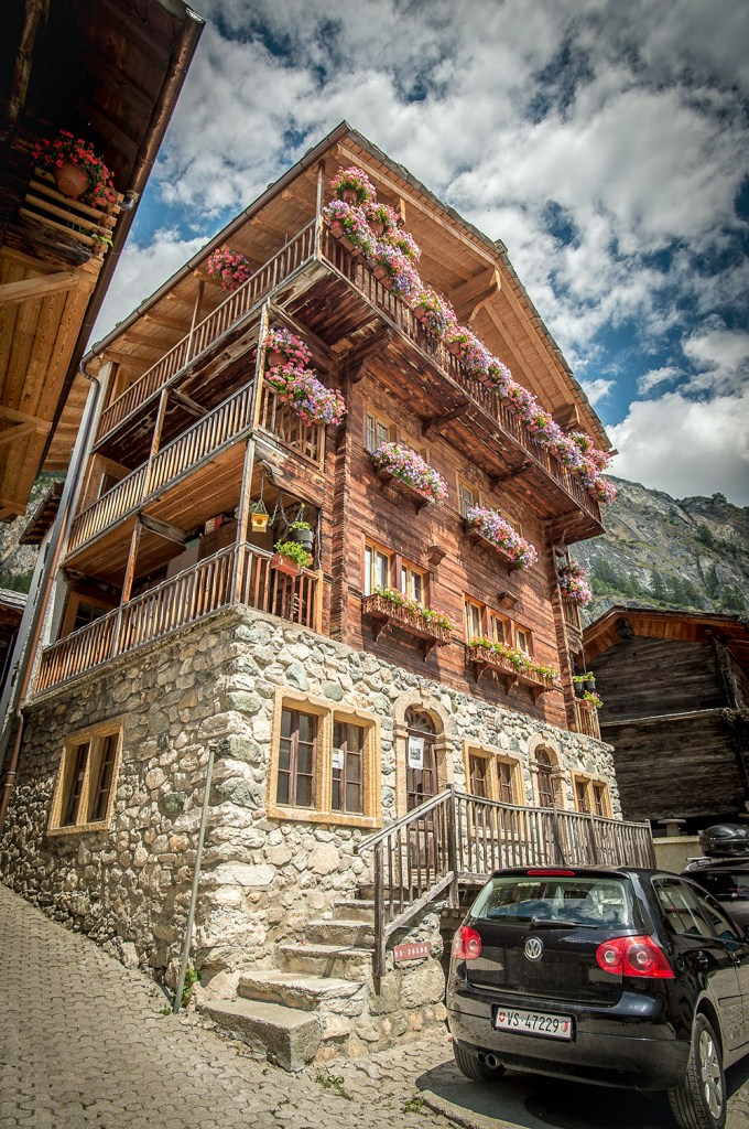 a house with flowers on the haute route