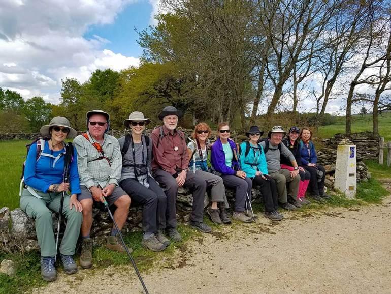 group of hikers amino de santiago pilgrim's way spain