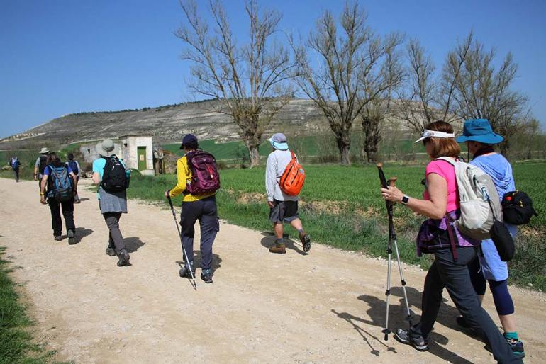 group hiking amino de santiago pilgrim's way spain