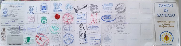 stamp book camino de santiago pilgrim's way spain