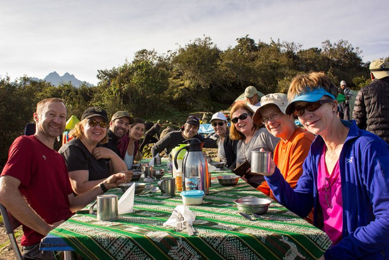 morning group breakfast on the Inca Trail