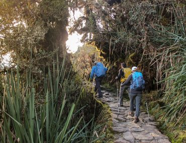 hiking on the Inca Trail at sunset
