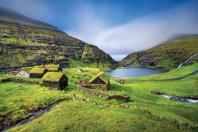 turf-roofed houses in the faroe islands