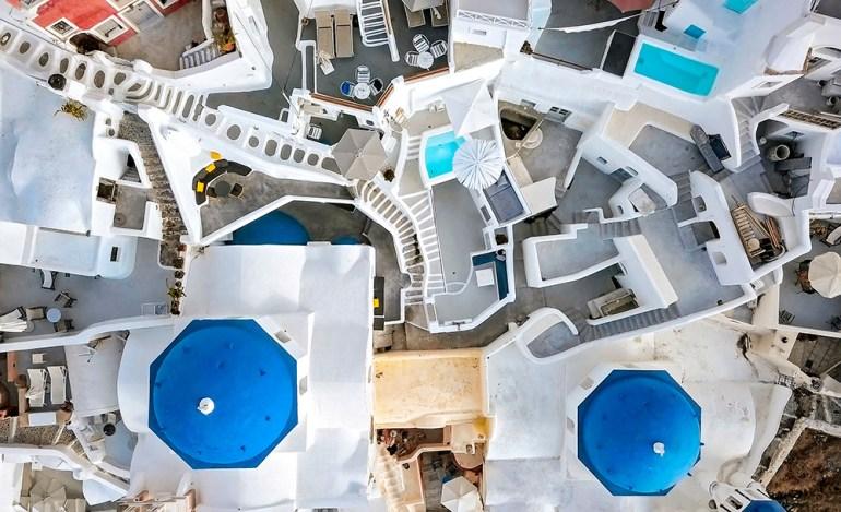 aerial photos santorini greece
