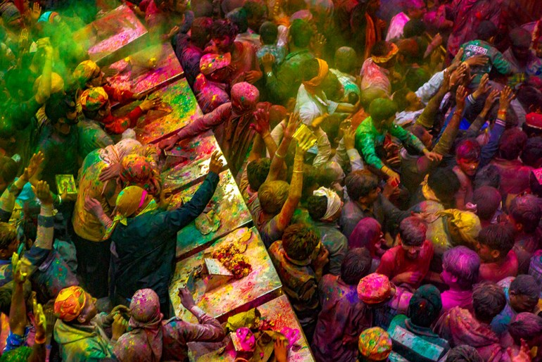 aerial photos holi festival india