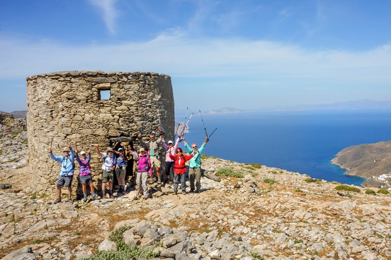hikers in the greek isles