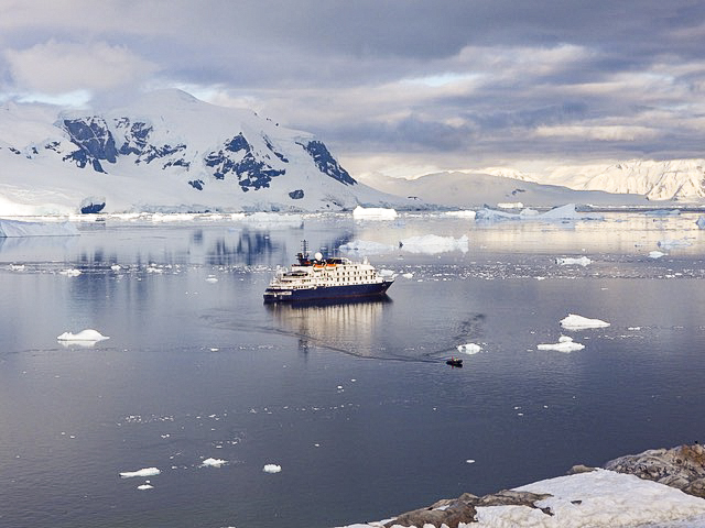 ship in bay in Antarctica