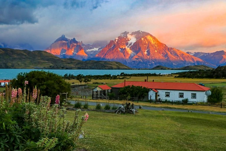 sunset over lodge in Patagonia