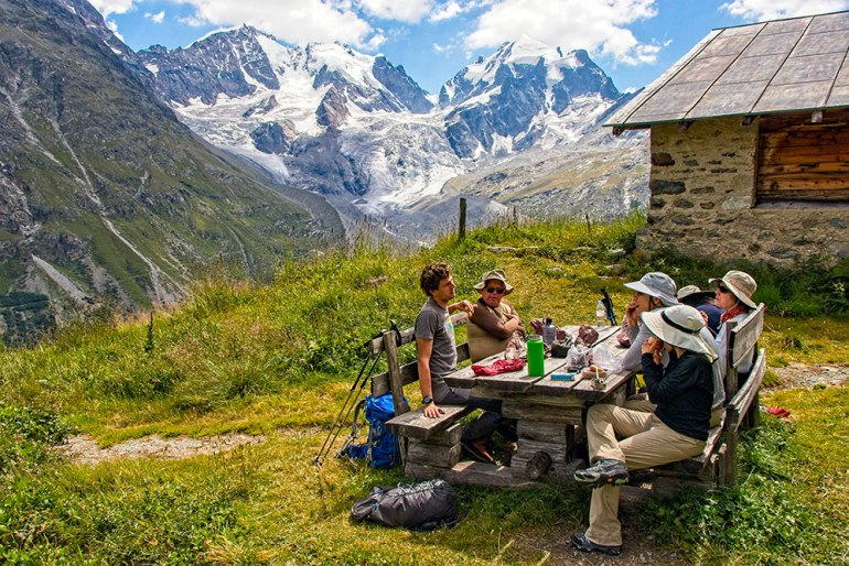 group lunch in the alps