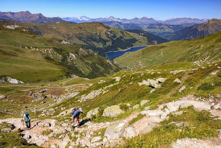 hiking uhill on mont blanc to mediterranean