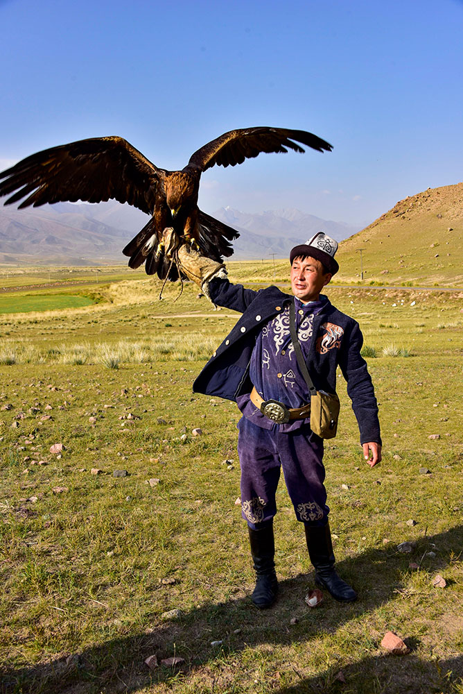 man with eagle in Kyrgyzstan