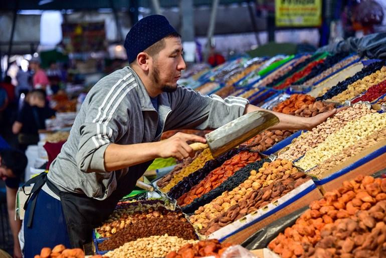 man in market in Kyrgyzstan