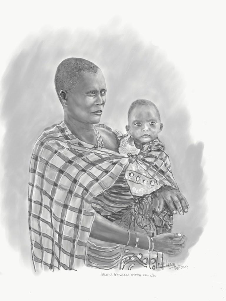 Tanzania artwork safari sketch of woman and child