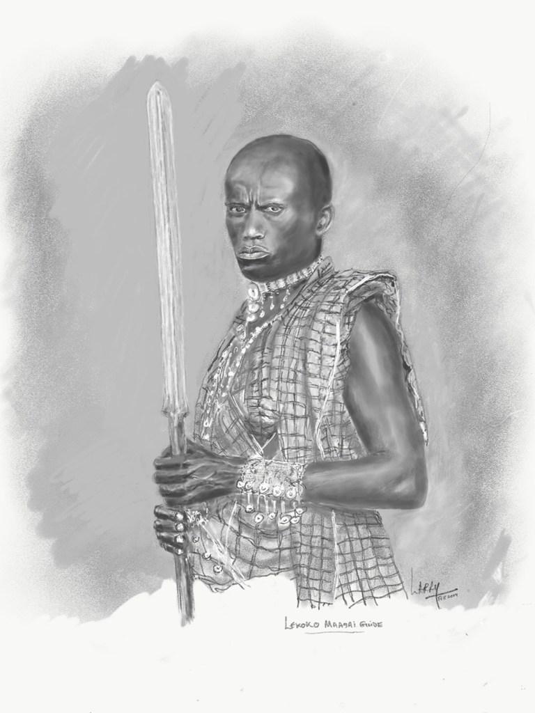Tanzania artwork safari sketch of warrior