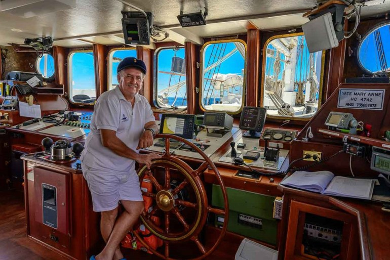 captain on the mary anne in the galapagos
