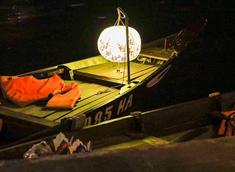 boat with lantern in indochine