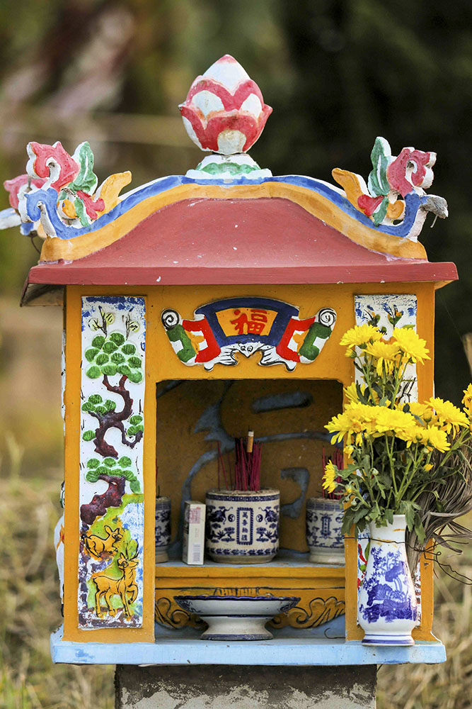 Spirit house at roadstop in indochine