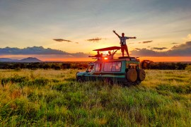 enjoying sunset in the serengeti tanzania