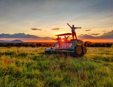 enjoying sunset in the serengeti tanzania