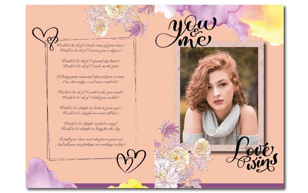 To make your wedding photo books memorable add text like picture titles and love notes within the layouts