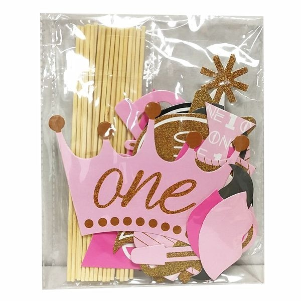 20pc Pink Photo Booth Props Baby Shower Girl 1st First Birthday Party