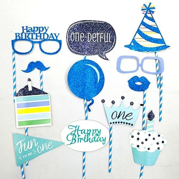 Ready Made Boy 1st Birthday Props On Sticks