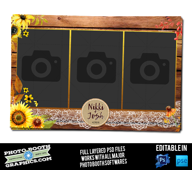 Rustic Burlap & Sunflowers - 4x6 - Photo Booth Graphics