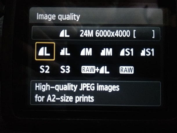 Image quality and size DSLR Camera
