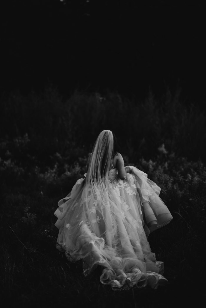 bride black and white running