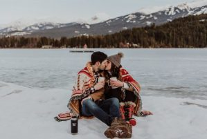 couple kissing winter personality instagram