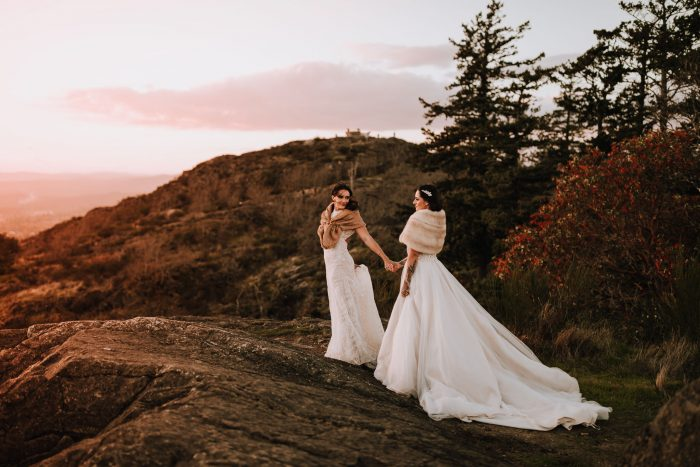 January brides on mountain at golden hour