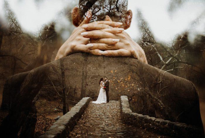 double exposure in the woods
