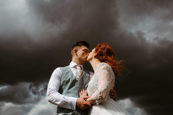 clouds wedding portrait