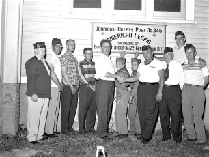 Boy Scout Troop 122 presents new American Legion sign G'town 1959